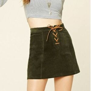 Forever 21 Green Lace-Up Faux Suede Mini Skirt